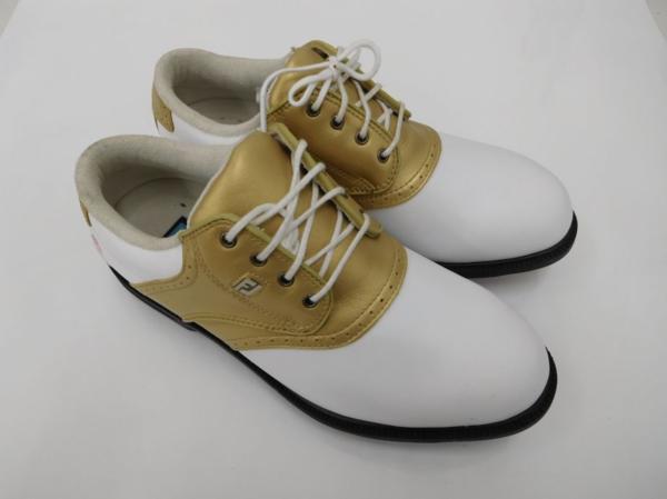 ゴルフ 女性用 レディース シューズ フットジョイドライジョイ Footjoy dryjoy 99142 ホワイト×ゴールド 23.5cm SU013