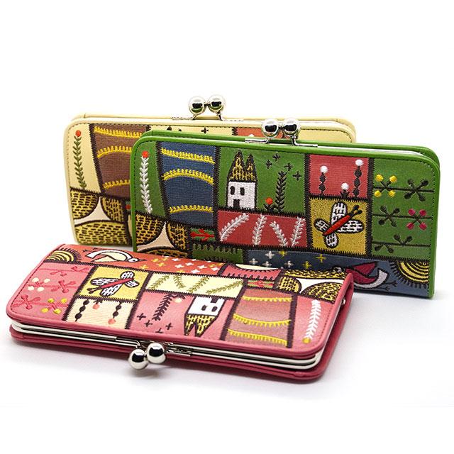 ホコモモラ デ シビラ 長財布 がま口 5388004 カンポ ピンク ベージュ グリーン Jocomomola de Sybilla スペイン 刺繍 草原 野原 パッチワーク