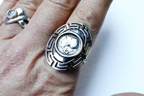 Greece myths accessories / Silver 925 Athens greca and replica coin ring  (ring )