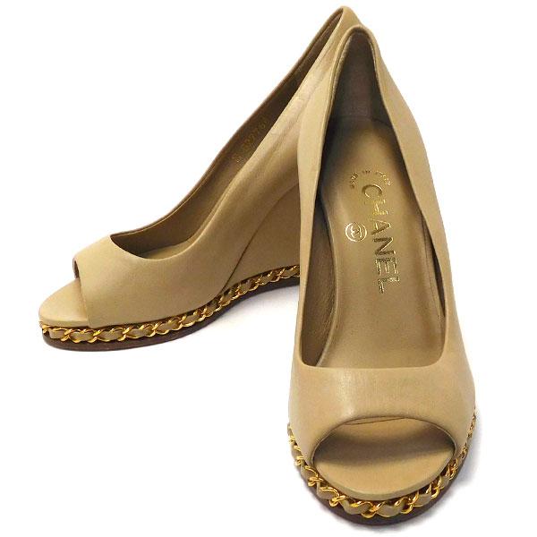 シャネル CHANEL 靴 ベージュ パンプス サンダル 中古 グレード:SA サンヤ質店