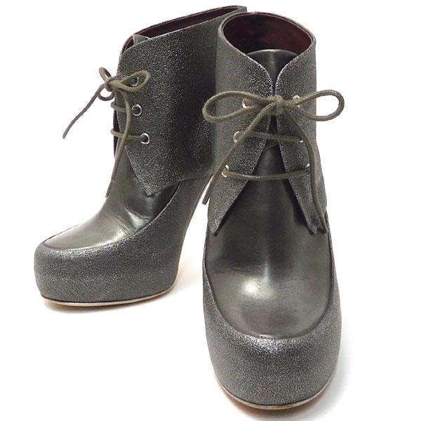 シャネル CHANEL 靴 ショートブーツ レースアップブーティー シルバーグレー 中古 グレード:SA サンヤ質店