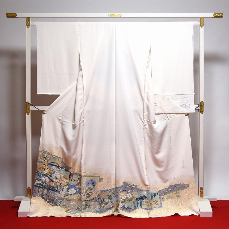 寿光織 最高峰縫取刺繍 訪問着/留袖 琳派継承 生成り色 手縫いお仕立て付き 染め替え付き 【裄66.5cm位まで】