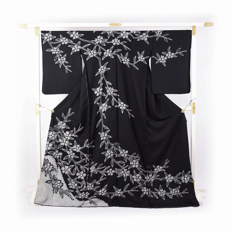 フルオーダー手縫いお仕立て付き 名門「藤娘きぬたや」謹製 本疋田絞り入り 最高級訪問着 桜のシンプルお花 黒地