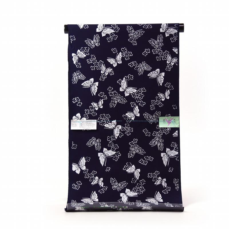 浴衣 反物販売 注染 東京本染 蝶 濃紺色 綿100% お仕立て対応 あす楽対応 浴衣では一般的なコーマ地
