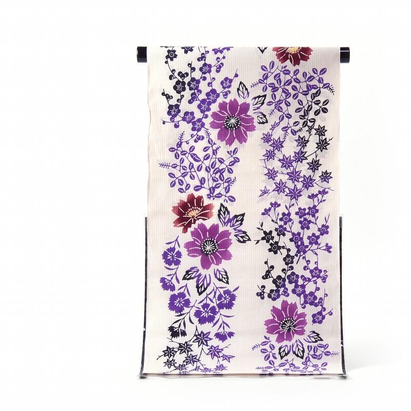 浴衣 反物販売 浜松本染 注染 花々 白に近い生成り色 綿麻 日本製 お仕立て対応 あす楽対応