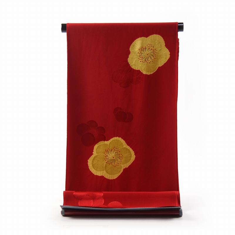 振袖用長襦袢 フルオーダー手縫い胴抜袖無双お仕立て付き 正絹 絞り入り 梅文/赤色、濃黄色【送料無料】