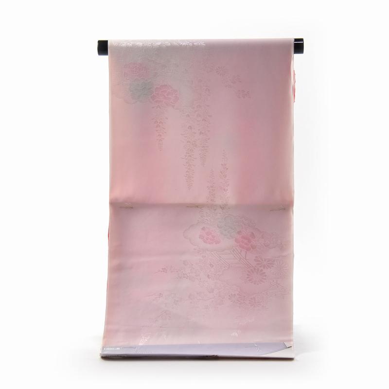 振袖用長襦袢 フルオーダー手縫い胴抜袖無双お仕立て付き 正絹 袖ぼかし(薄赤色) 雲取りに花々/淡いピンク色【送料無料】