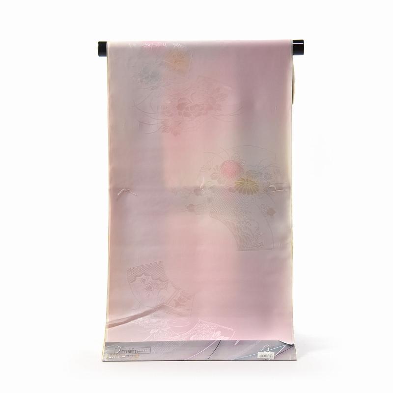振袖用長襦袢 フルオーダー手縫い胴抜袖無双お仕立て付き 正絹 袖ぼかし(緑色) 地紙に花々/淡いピンク色【送料無料】