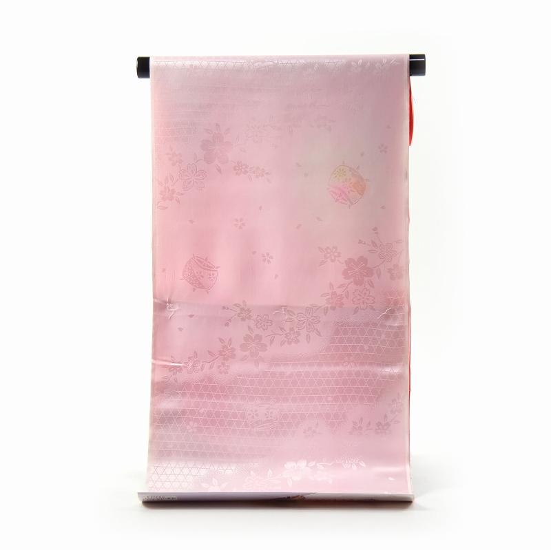 振袖用長襦袢 フルオーダー手縫い胴抜袖無双お仕立て付き 正絹 袖ぼかし(薄赤色) 籠目に桜と糸巻き/淡いピンク色【送料無料】