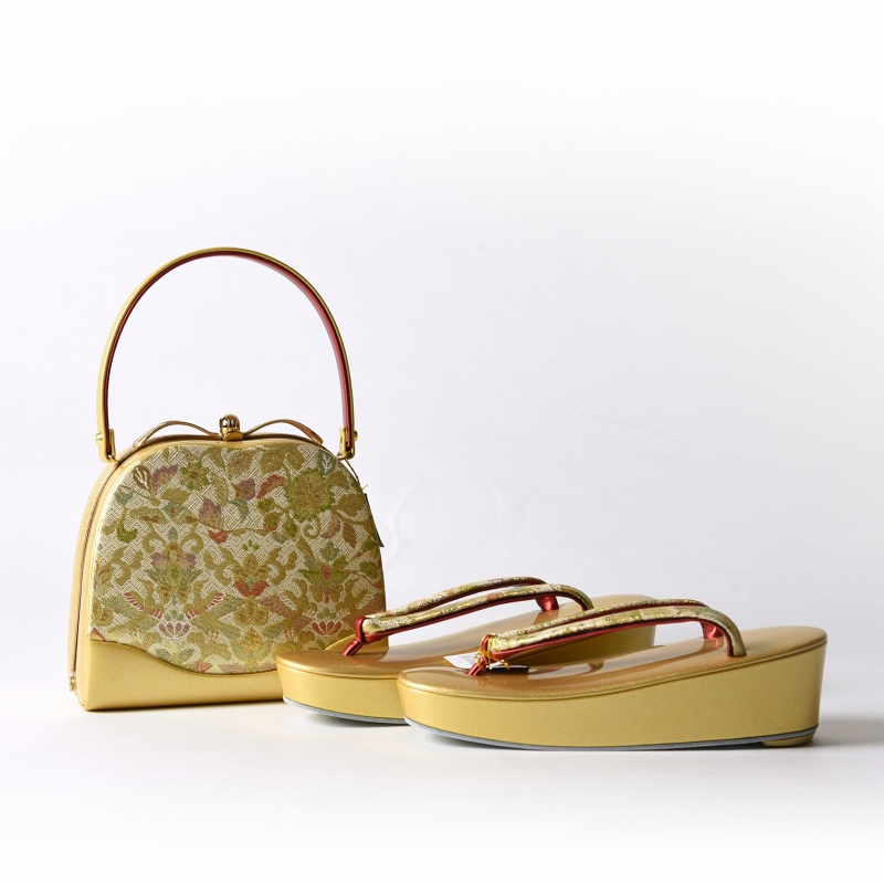 草履バッグ あす楽対応 送料無料 和装 草履とバッグのセット 正絹金糸使用 礼装用 ハンドバッグ 適応サイズ23.5~25cm前後