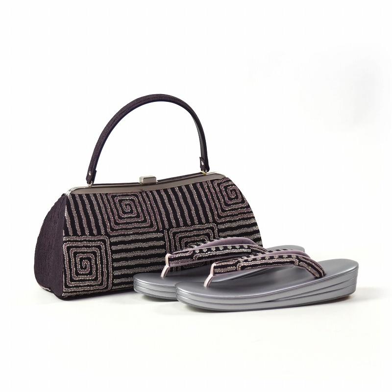 草履とバッグ 草履 バッグ セット 創作品 黒色、鳩羽色 フリーサイズ あす楽対応 送料無料