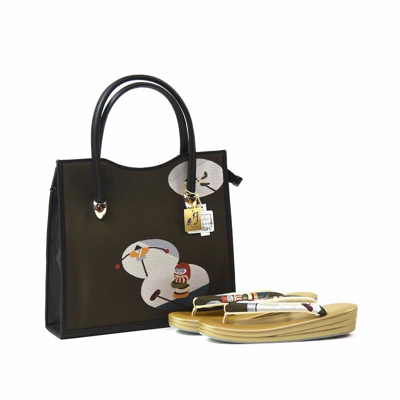 草履とバッグ 草履 バッグ セット 創作品 玩具 鶯色 フリーサイズ あす楽対応 送料無料