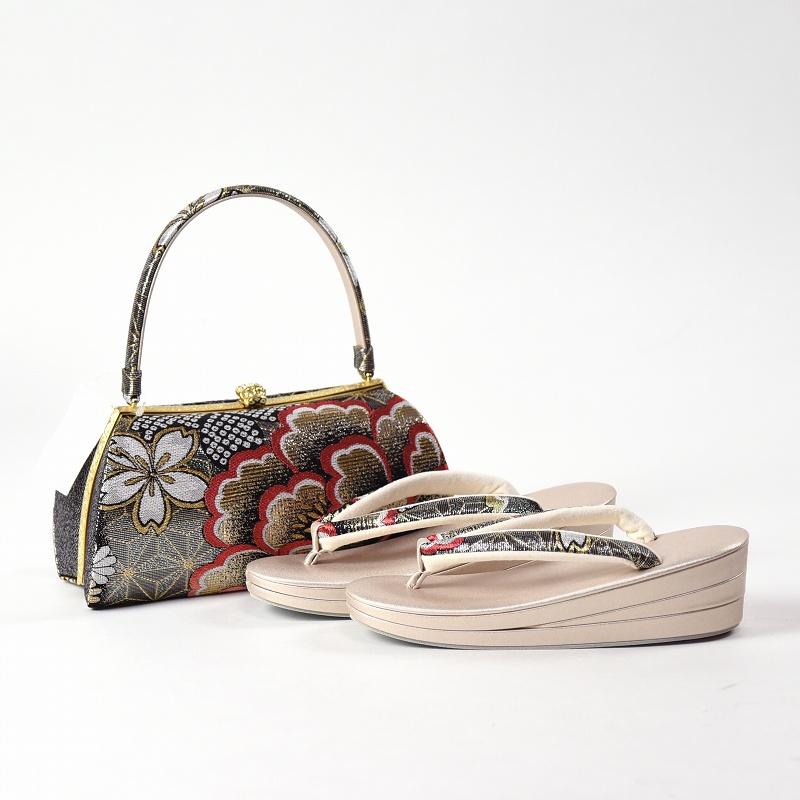 振袖用 草履とバッグ 草履 バッグ セット 帯地 牡丹、桜 フリーサイズ あす楽対応 送料無料 着物