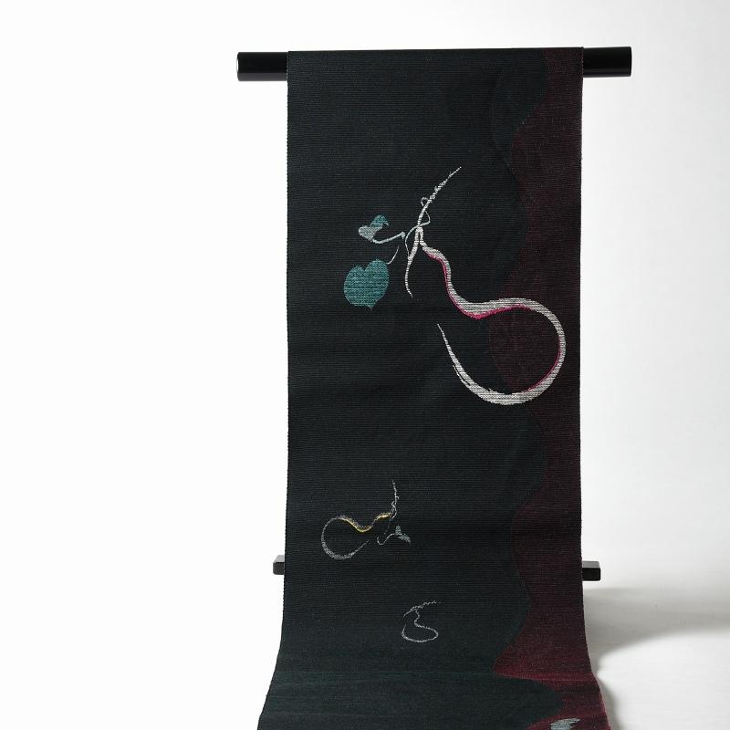 【送料無料】【お仕立て付き!】 西陣「とみや織物」謹製 正絹モール紬地 お洒落八寸名古屋帯(お太鼓柄) 瓢箪(ひょうたん) 黒色、赤紫色【着物/和服/カジュアル/街着/お出かけ】