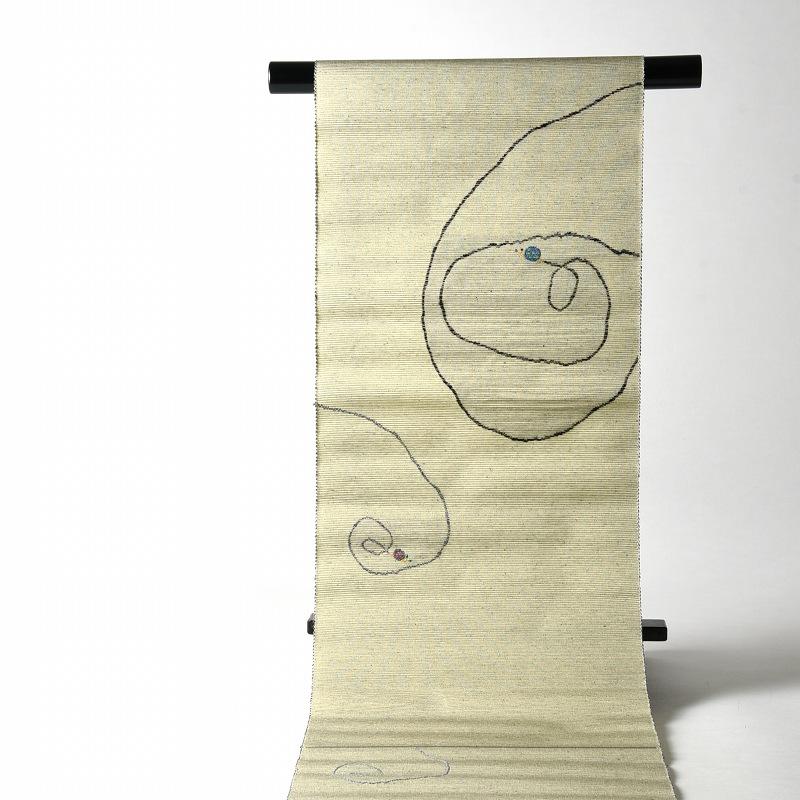 【送料無料】【お仕立て付き!】 西陣「とみや織物」謹製 正絹モール紬地 お洒落八寸名古屋帯(お太鼓柄) 蝸牛・かたつむり クリーム系色
