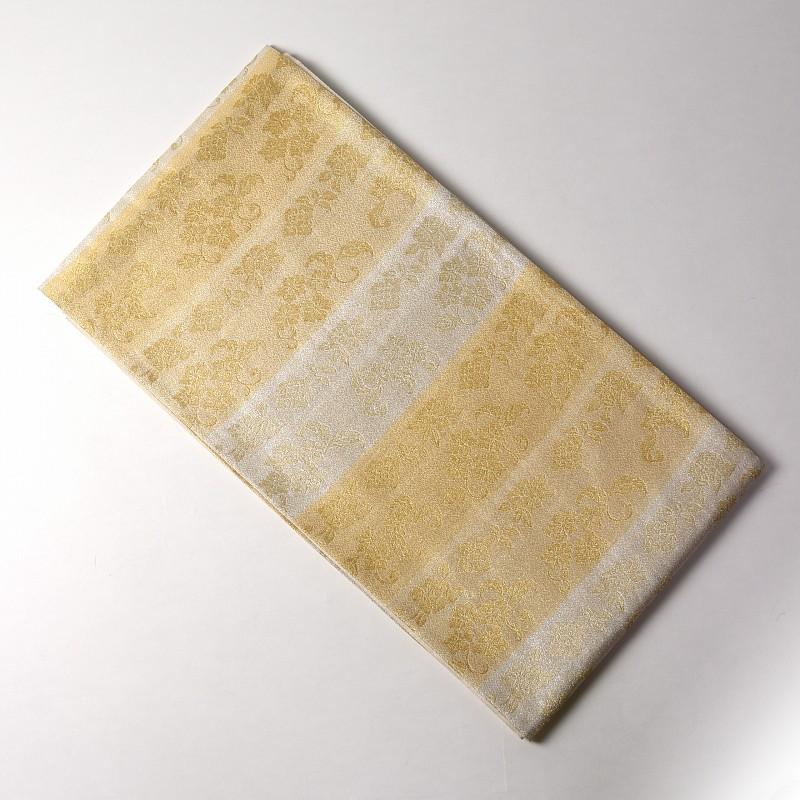 袋帯 お仕立て済み未使用品 軽細金糸 全通長尺織 段文様 金銀色 レディース/フォーマル/礼装 送料無料