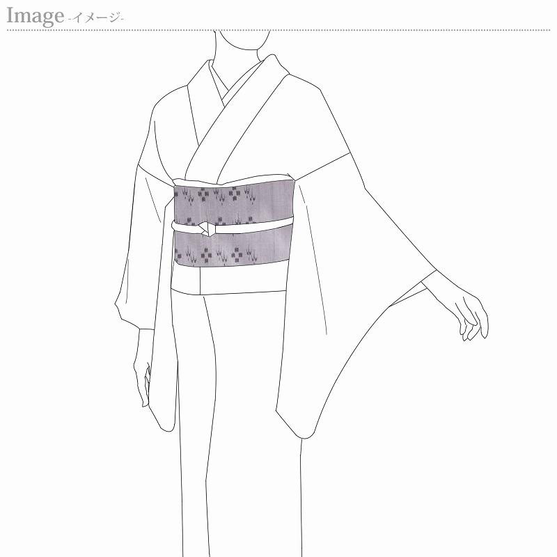 九寸帯 お仕立て付き 琉球かすり 手織り 九寸名古屋帯(六通柄)紬地 灰色 レディース着物/カジュアル/遊び着