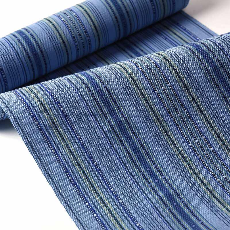 八寸帯 お仕立て付き 沖縄県 首里織 花織 手織り 織り帯 八寸名古屋帯(六通柄)綿100% 濃空色 カジュアル着用 送料無料