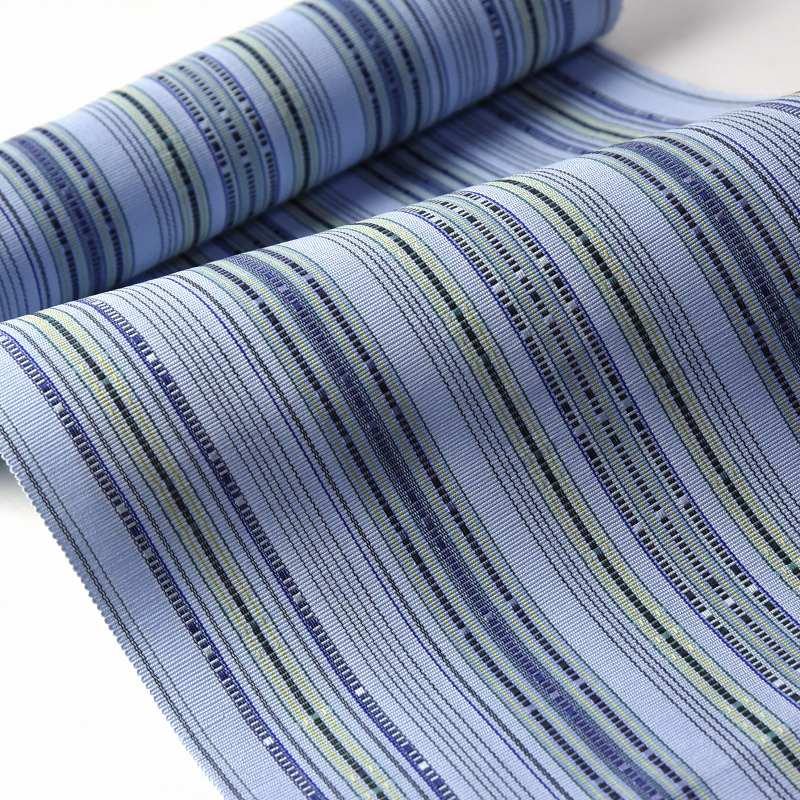 八寸帯 お仕立て付き 沖縄県 首里織 花織 手織り 織り帯 八寸名古屋帯(六通柄)綿100% 空色 カジュアル着用 送料無料