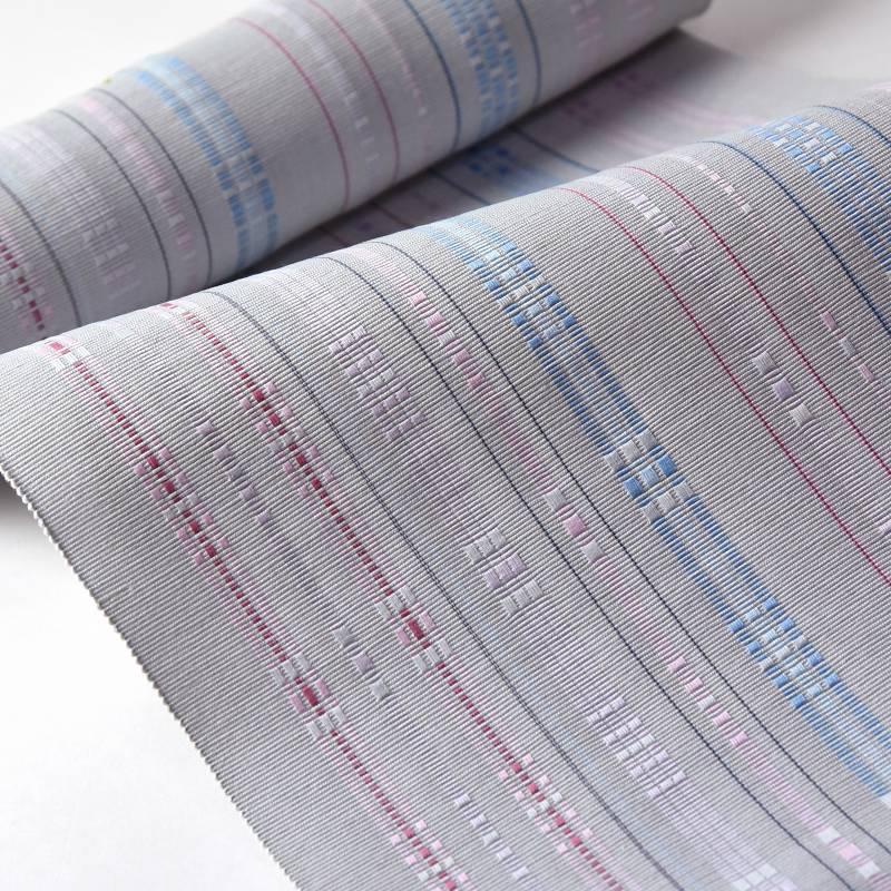 八寸帯 お仕立て付き 沖縄県 首里織 花織 手織り 織り帯 八寸名古屋帯(六通柄)綿100% 明灰色 カジュアル着用 送料無料