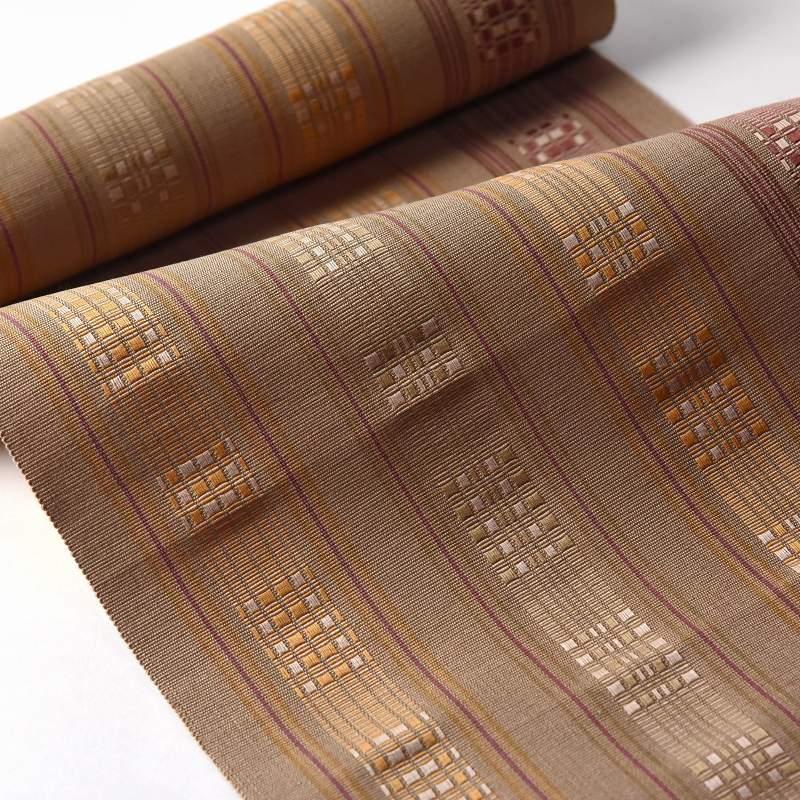八寸帯 お仕立て付き 沖縄県 首里織 花織 手織り 織り帯 八寸名古屋帯(六通柄)綿100% 黄土系色 カジュアル着用 送料無料