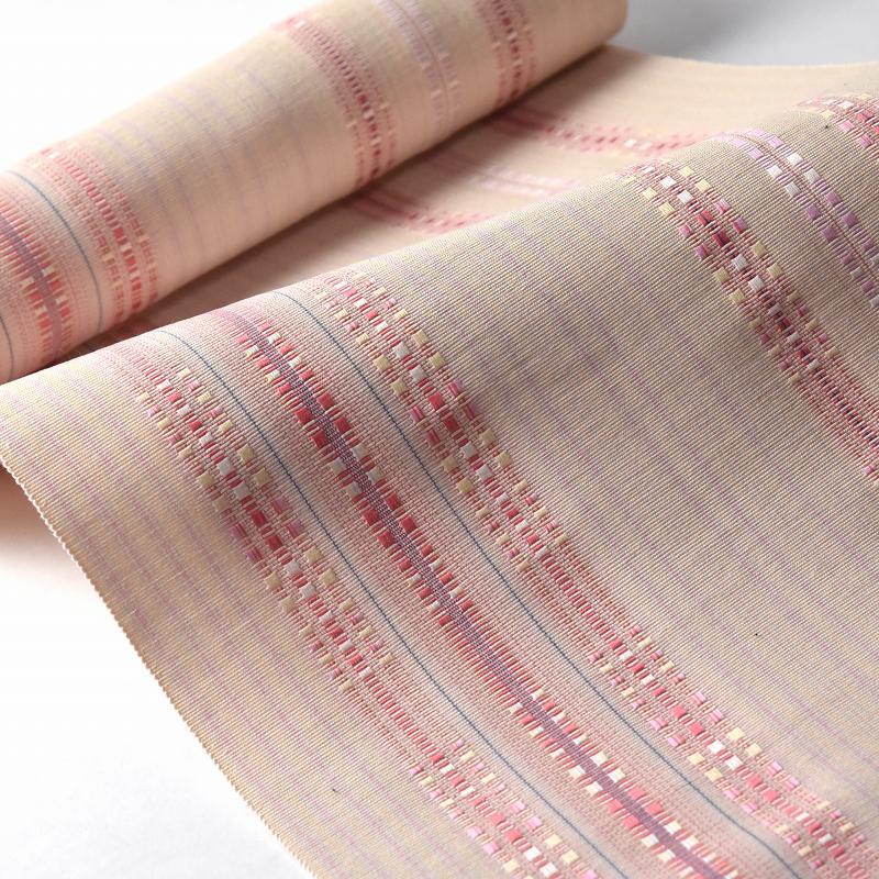 八寸帯 お仕立て付き 沖縄県 首里織 花織 手織り 織り帯 八寸名古屋帯(六通柄)綿100% ペールオレンジ色 カジュアル着用 送料無料