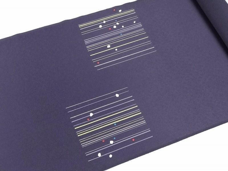 (お太鼓柄) 【送料無料】 【お仕立て代込み】 【反物購入可能】 お洒落九寸名古屋帯 青紫色 抽象的横縞/ 染め帯