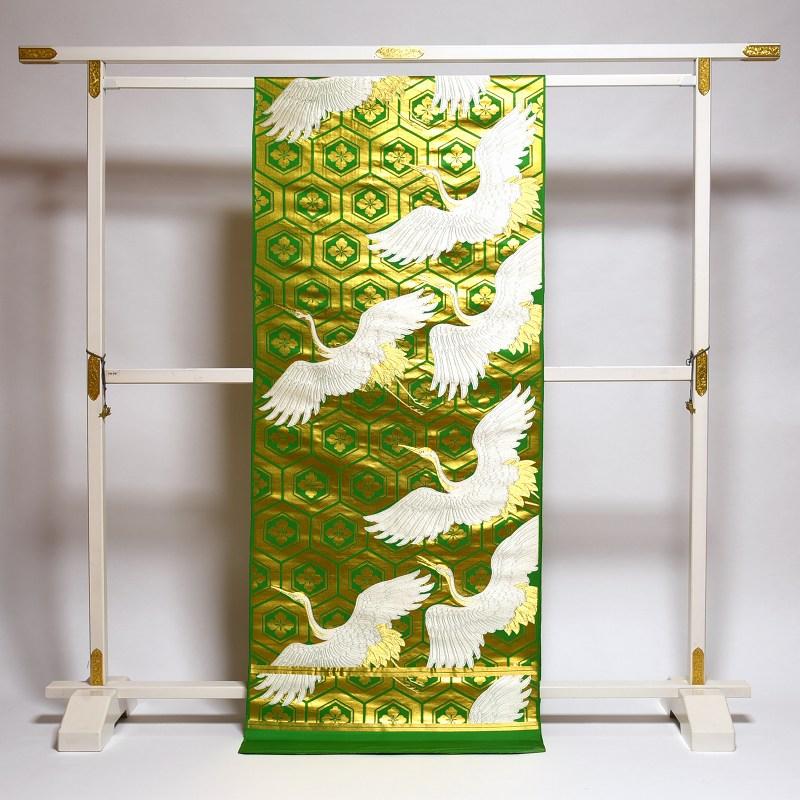 丸帯 お仕立て付き 西陣織 フォーマル用 亀甲に鶴文様 緑色に金色 レディース着物/和服/結婚式 アンティーク 送料無料