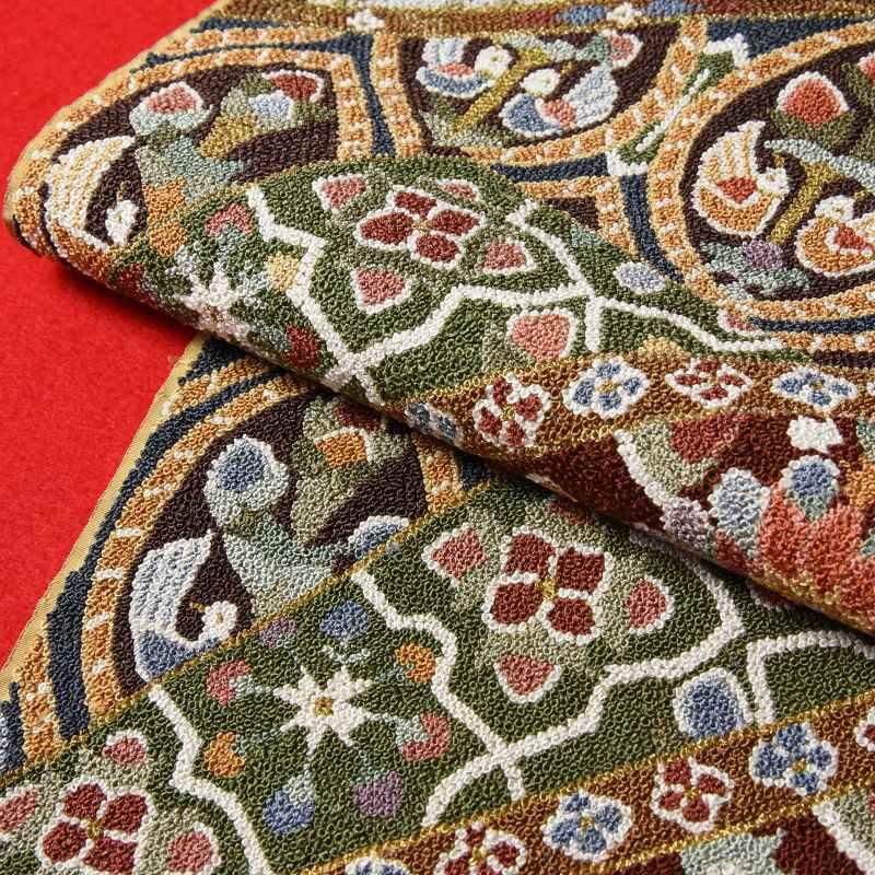 袋帯 綿芯お仕立て付き 中国三大刺繍 百万粒 相良刺繍 セミフォーマル用 六通柄 裂取りに植物 多色糸使用 丸巻き袋帯 レディース着物/和服/結婚式/入卒式/結納/パ−ティ−/付き添い/お出かけ