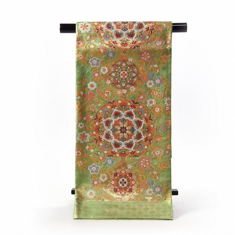 振袖用袋帯 お仕立て付き 西陣織 竹本正典 正絹 六通柄 黄緑色 華文【送料無料】