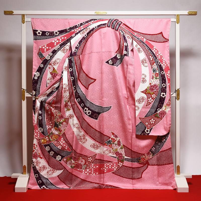 振袖 新品未使用品 お仕立て済み お仕立て上がり 正絹 ピンク色 熨斗 身長155cm~165cmくらいの方に 裄67cm あす楽 送料無料 正絹振袖