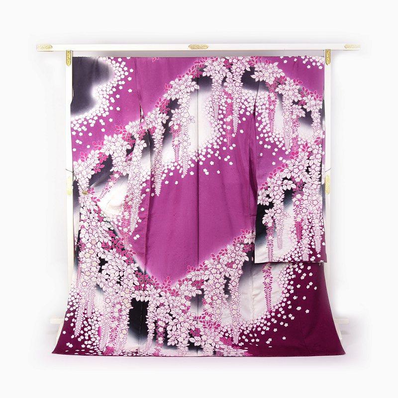 振袖 手縫いお仕立て付き 十日町友禅「滝泰」謹製 ふりおぼろ 藤尽くしに桜 紫色 【裄74.5cm位まで】成人式・卒業式・謝恩会・結婚式・披露宴・初釜・パーティーに♪送料無料