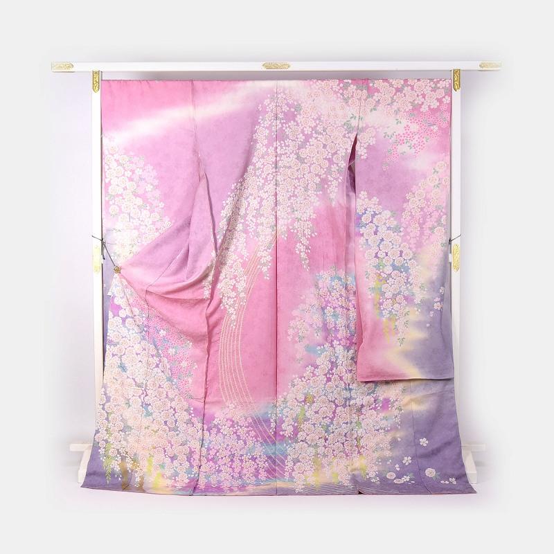 振袖 手縫いお仕立て付き 十日町友禅「関芳」謹製 桜尽くし ピンク色、藤色 【裄72.5cm位まで】成人式・卒業式・謝恩会・結婚式・披露宴・初釜・パーティーに♪送料無料