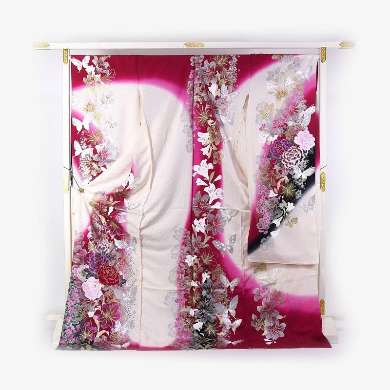 振袖 手縫いお仕立て付き 十日町「関芳」製 赤白色 牡丹、百合、蝶 刺繍入り ラメ入り ベロア生地入り 送料無料 ブランド振袖 御振袖