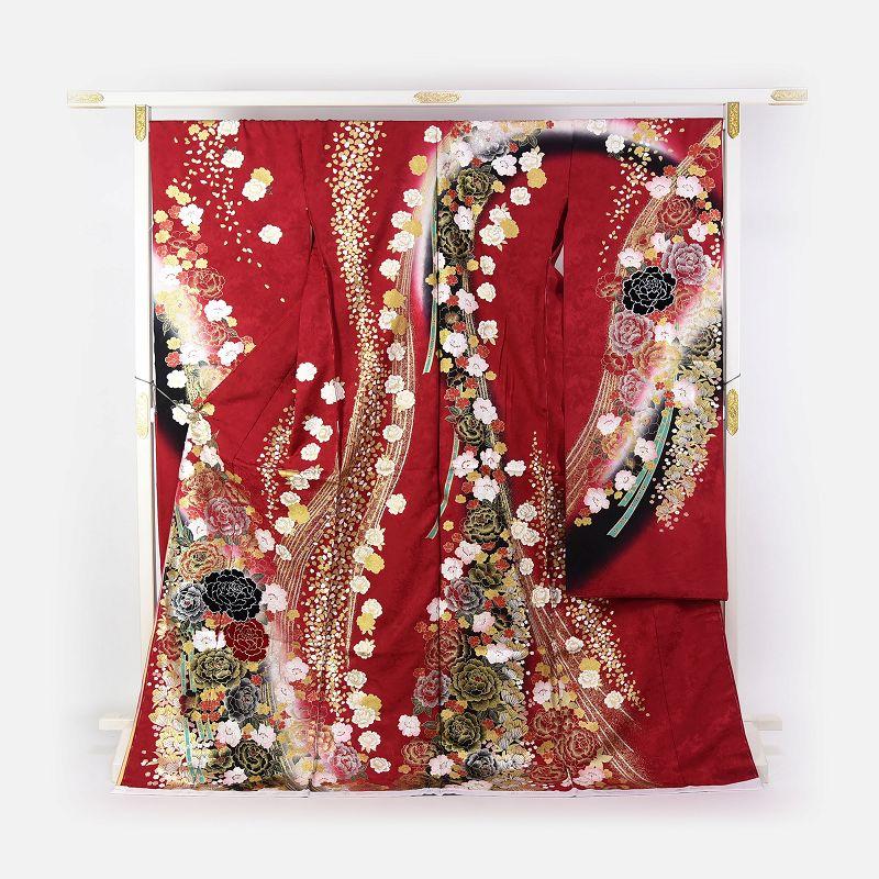 振袖 手縫いお仕立て付き ブライダルファッションデザイナー「桂由美」監修 十日町「関芳」製 赤色 流れ牡丹 刺繍入り ベロア入り ラインストーン入り 送料無料 ブランド振袖 御振袖