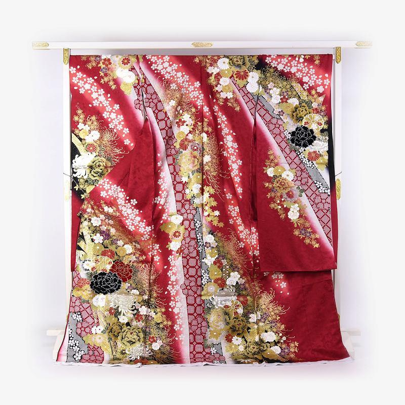 振袖 手縫いお仕立て付き ブライダルファッションデザイナー「桂由美」監修 十日町「関芳」製 赤色 熨斗に花々 刺繍入り ベロア入り 送料無料 ブランド振袖 御振袖