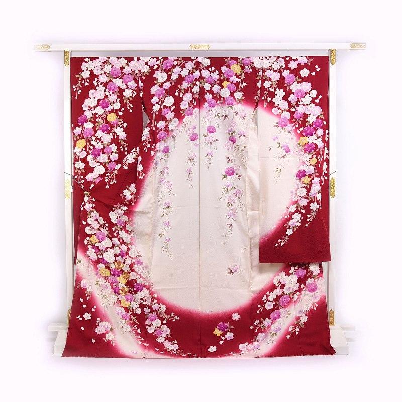 振袖 手縫いお仕立て付き 十日町「関芳」製 赤白色 桜尽くし 金駒刺繍入り 送料無料 ブランド振袖 御振袖
