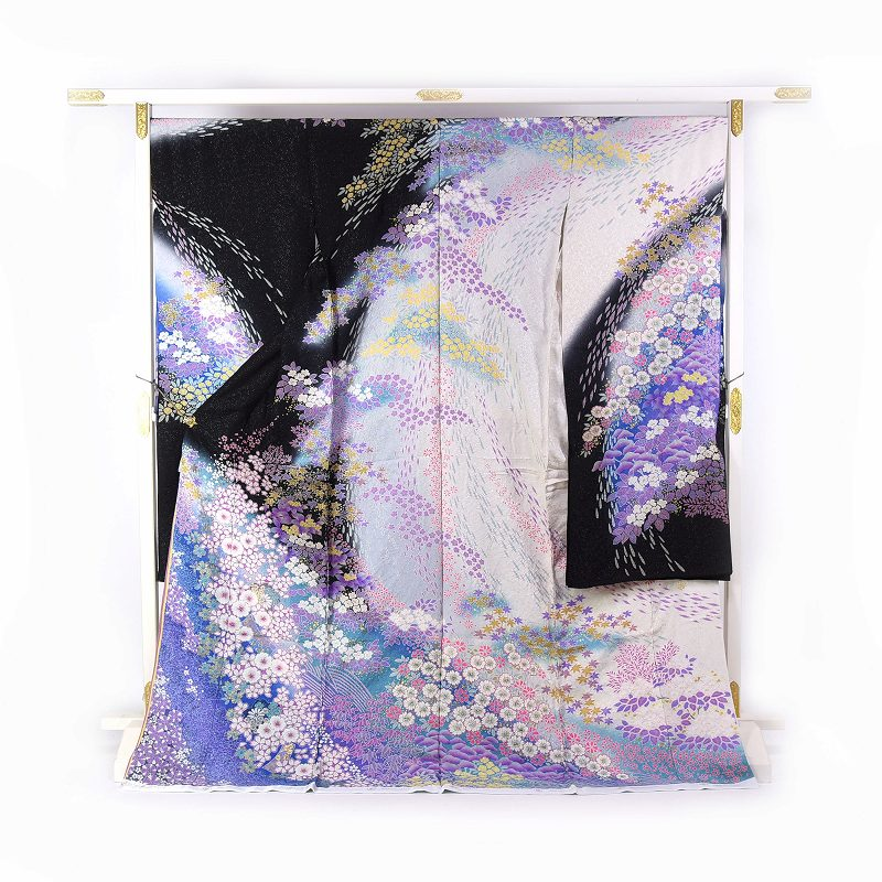 振袖 手縫いお仕立て付き ブライダルファッションデザイナー「桂由美」監修 十日町「関芳」製 白黒色、青紫色 幻想的な吹き寄せ 送料無料 ブランド振袖 御振袖