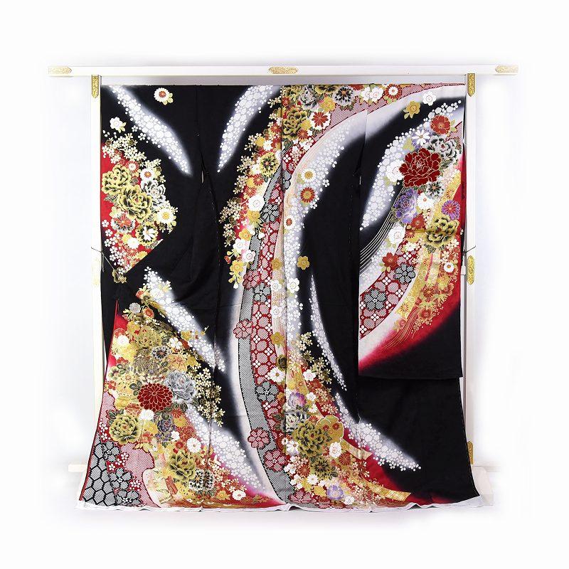 振袖 手縫いお仕立て付き ブライダルファッションデザイナー「桂由美」監修 十日町「関芳」製 黒色、赤色 熨斗に花々 刺繍入り ベロア入り 送料無料 ブランド振袖 御振袖