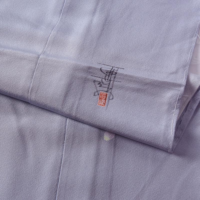 訪問着 フルオーダー手縫いお仕立て付き 加賀友禅作家 百貫石峰作 花籠文様 淡い青紫色 身長170cmまで、裄70cmまで 通年の着用可  セミフォーマル