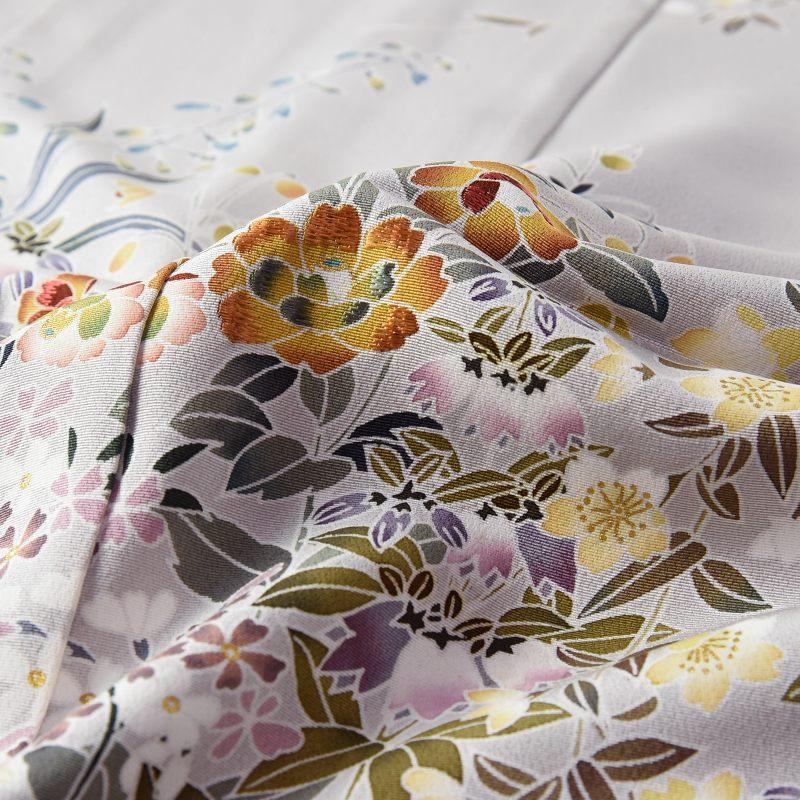訪問着 フルオーダー手縫いお仕立て付き 手描き 細かい花々 明灰色 身長168cmまで、裄69.5cmまで 通年の着用可  セミフォーマル