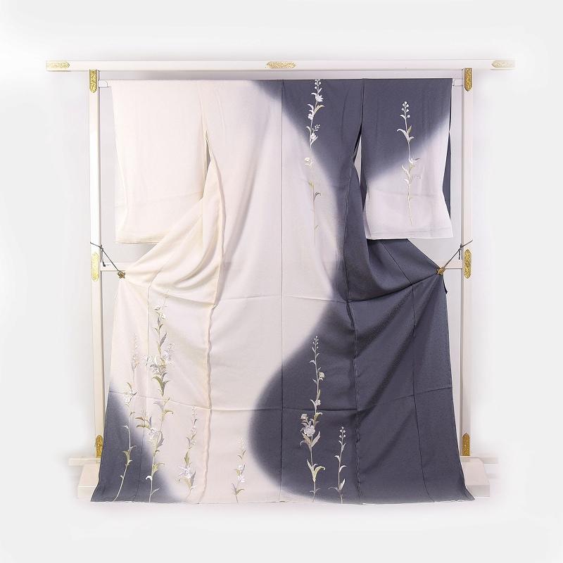 訪問着 手縫い袷お仕立て付き 刺繍 日本の絹丹後ちりめん使用  唐花文様/白色とグレー色 結婚式・披露宴・パーティ・お見合い・結納・入卒式・宮参り・七五三に♪送料無料