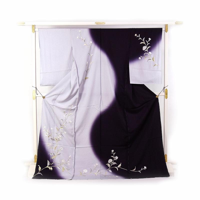 訪問着 手縫い袷お仕立て付き 刺繍 日本の絹丹後ちりめん使用  唐花文様/濃淡の紫色 結婚式・披露宴・パーティ・お見合い・結納・入卒式・宮参り・七五三に♪送料無料