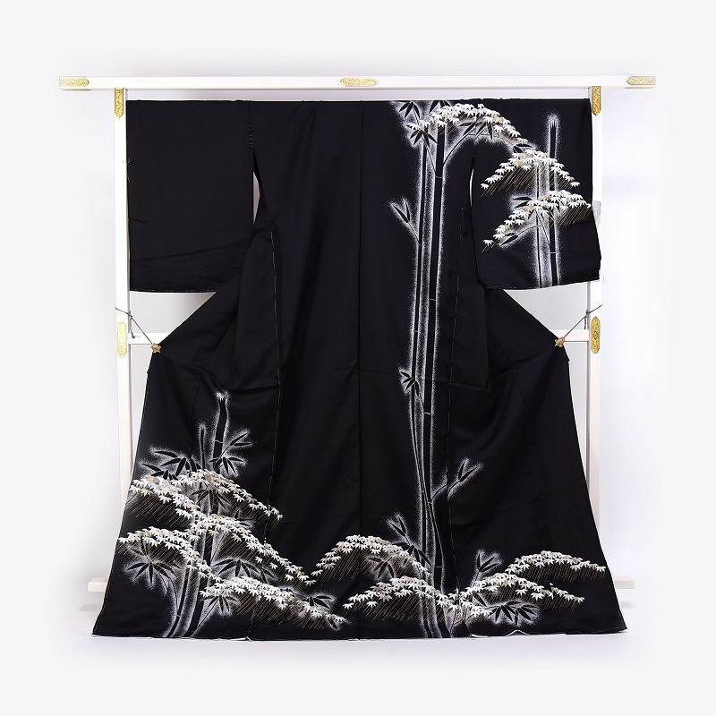 訪問着 手縫い袷お仕立て付き 豪華手刺繍 日本の絹丹後ちりめん使用  竹尽くし/黒色 結婚式・披露宴・パーティ・お見合い・結納・入卒式・宮参り・七五三に♪送料無料