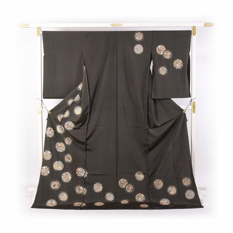 訪問着 フルオーダーお仕立て付き 中国蘇州刺繍 手刺繍 鶯グレー/花々・楽器の丸文 【送料無料