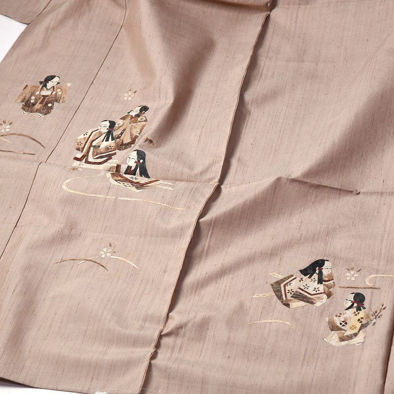 カジュアル訪問着 袷フルオーダー手縫いお仕立て付き 十日町「水国織物」謹製 作家物 蓑虫巣殻童子柄