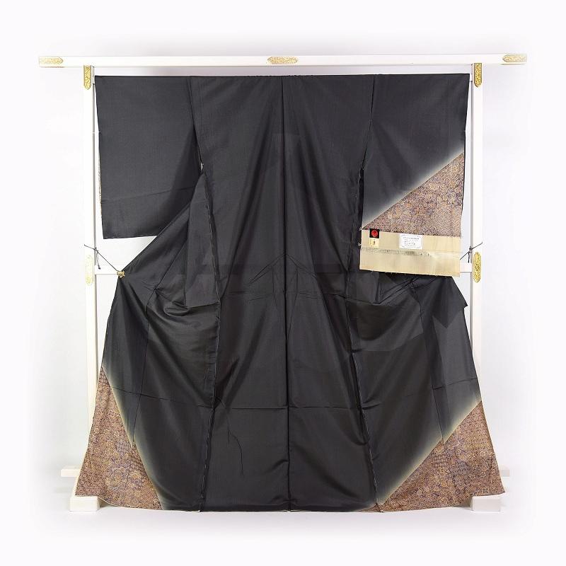 袷フルオーダー手縫いお仕立て付き 最高級紬の訪問着1 京友禅 カジュアル訪問着 更紗文様 ムガシルク