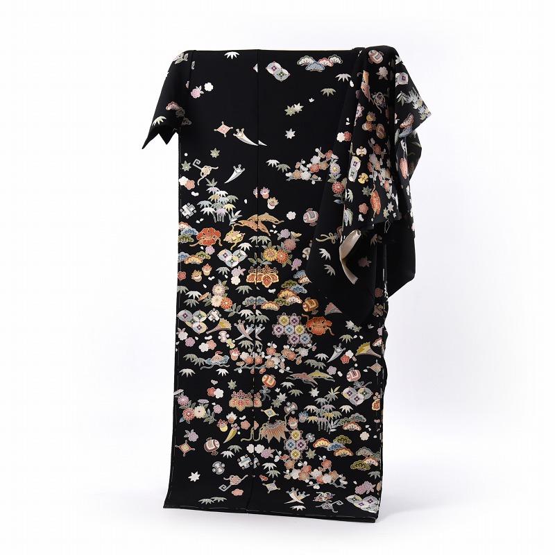 訪問着 手縫いお仕立て付き 吉澤の友禅 宝尽くし 黒色 身長167cm位まで、裄68.5cmまで 通年の着用可 着物 送料無料