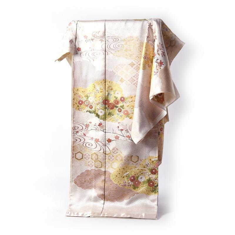 訪問着 手縫いお仕立て付き 吉澤の友禅 吉田簑助の世界 雲取りに花々 ごく淡いクリーム色 身長170cm位まで、裄70.5cmまで 送料無料