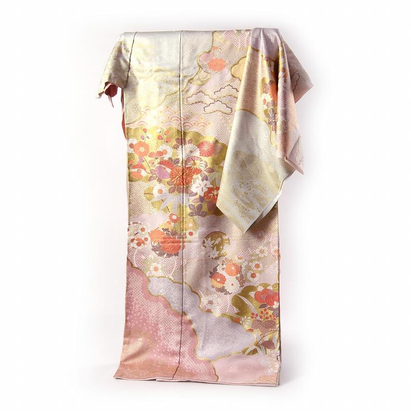 訪問着 手縫いお仕立て付き 十日町友禅 青柳 雲取りに花々 桃色 身長170cm位まで、裄70.5cmまで 送料無料